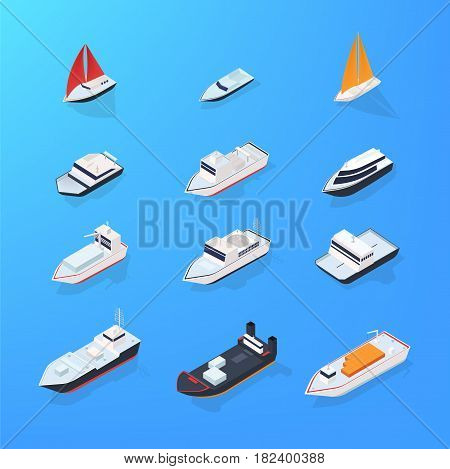 Set of different ship, motorboat, sailing, yacht, passenger, merchant vessel Colorful isometric illustration collection