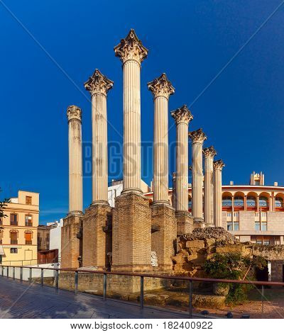 Roman columns of the temple in th sunny day, Cordoba, Andalusia, Spain
