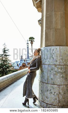 Trendy Tourist Woman In Barcelona, Spain In Winter Sightseeing