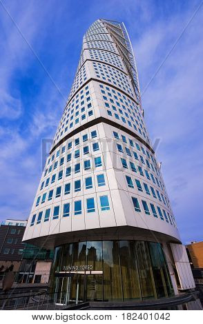 MALMO SWEDEN - MARCH 07 2017: Low angle view of Malmo Sweden skyscraper Turning Torso regarded as the first twisted skyscraper in the world.