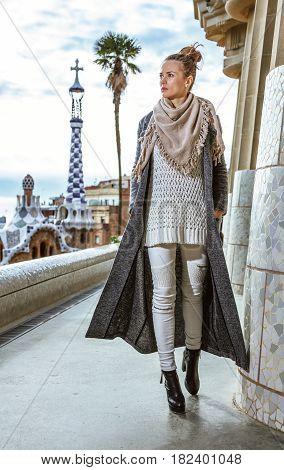 Trendy Woman In Barcelona, Spain In Winter Walking