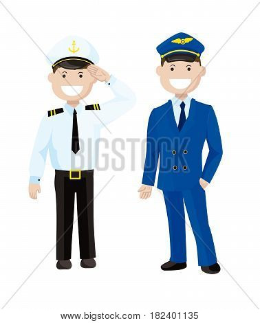 Two captains. Colored vector characters on white background