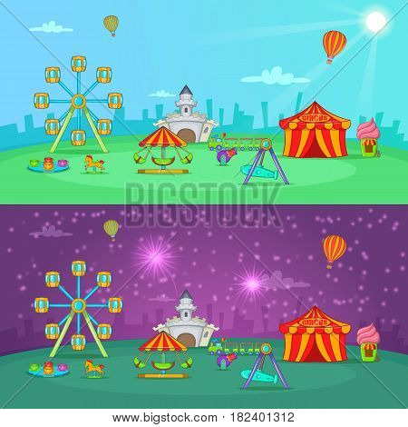 Circus banner set horizontal day and night in cartoon style for any design vector illustration