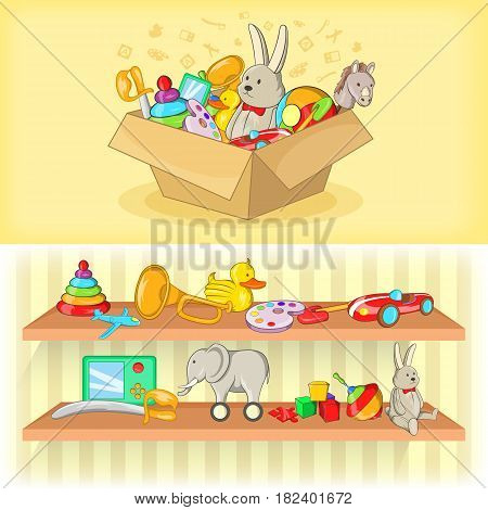 Baby toys banner set horizontal in cartoon style for any design vector illustration