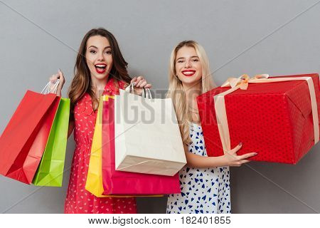 Image of cheerful young two ladies friends with bright makeup lips standing over grey wall and posing with shopping bags and gift. Looking at camera.