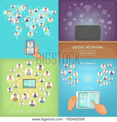 Social network banner set in cartoon style for any design vector illustration