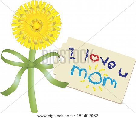 Hand picked dandelion and tag with handwritten message of love in crayon for mom on Mothers Day, vector illustration isolated on white
