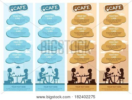 Couples of people in cafe eat, drink. Templates for flyers and banners. Vector Illustration with men and women at tables on city background in two colors