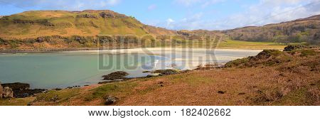 Calgary Bay Isle of Mull Argyll and Bute Scotland uk Scottish Inner Hebrides on a beautiful spring day panoramic view