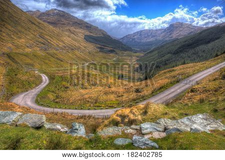 Rest and be thankful view Scotland UK the highest point on the A83 divides Glen Kinglas from Glen Croe in hdr