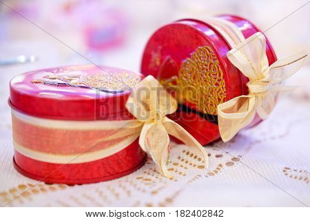 Wedding gift for guest attending the wedding red box