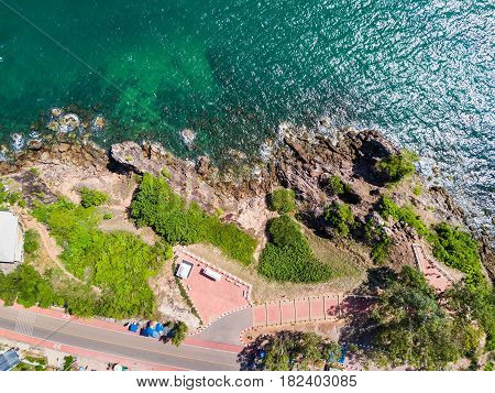 Aerial view from drone of Nang Phaya Hill Scenic Point where to see the clear turquoise sea in Chanthaburi Thailand