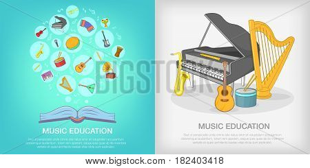 Musical education banner set in cartoon style for any design vector illustration