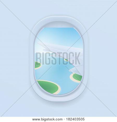 airplane window. cartoon flat illustration. Porthole, view on the plane wing