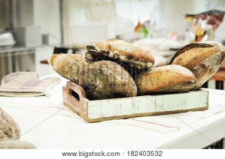 Mixed rye-wheat whole grain homemade sourdough bread