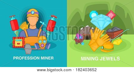 Professional miner banner set in cartoon style for any design vector illustration