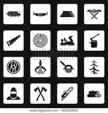 Timber industry icons set in white squares on black background simple style vector illustration