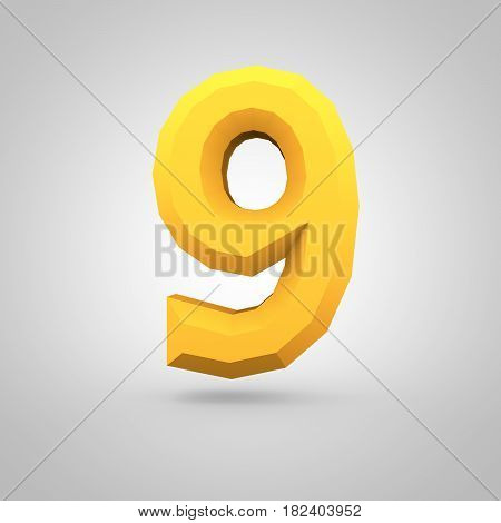Yellow Low Poly Alphabet Number 9 Isolated On White Background.