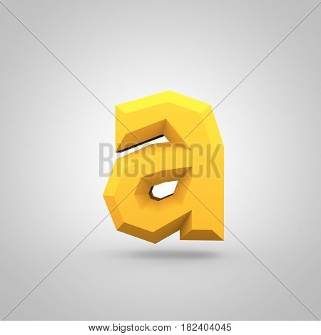 Yellow Low Poly Alphabet Letter A Lowercase Isolated On White Background.