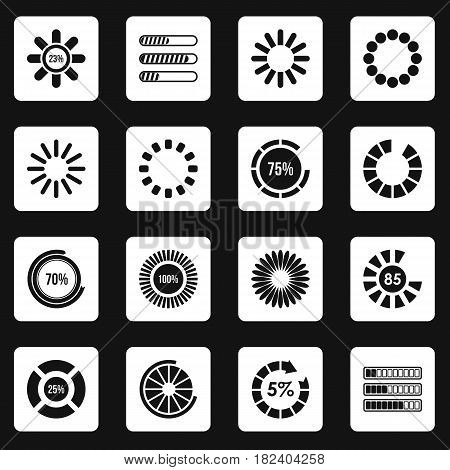 Loading bars and preloaders icons set in white squares on black background simple style vector illustration