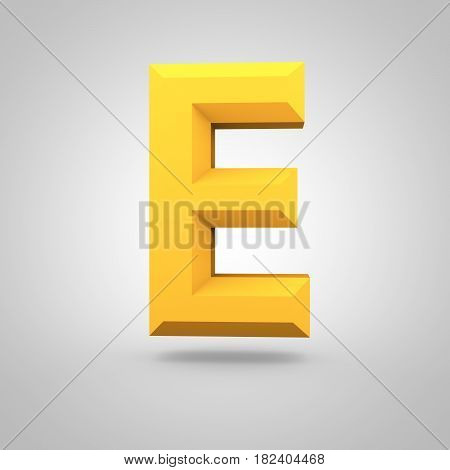 Yellow Low Poly Alphabet Letter E Uppercase Isolated On White Background.