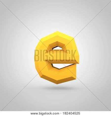 Yellow Low Poly Alphabet Letter E Lowercase Isolated On White Background.