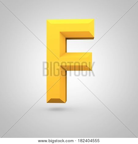 Yellow Low Poly Alphabet Letter F Uppercase Isolated On White Background.