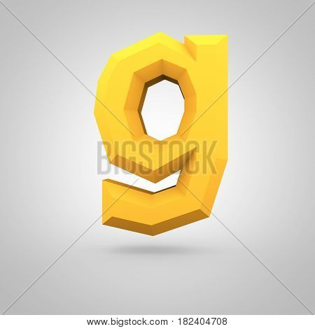 Yellow Low Poly Alphabet Letter G Lowercase Isolated On White Background.
