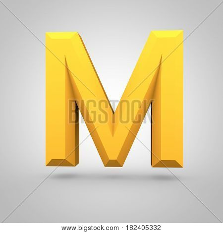 Yellow Low Poly Alphabet Letter M Uppercase Isolated On White Background.