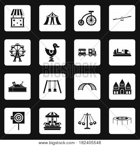 Amusement park icons set in white squares on black background simple style vector illustration