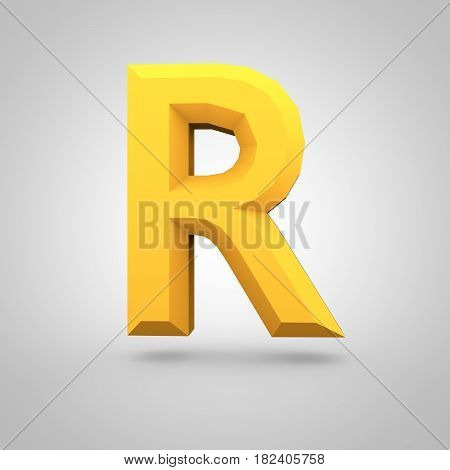 Yellow Low Poly Alphabet Letter R Uppercase Isolated On White Background.