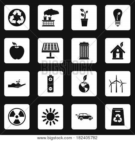 Ecology icons set in white squares on black background simple style vector illustration