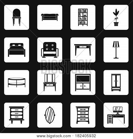 Furniture icons set in white squares on black background simple style vector illustration