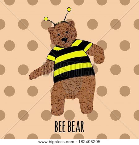 Hand drawn dancing bear in bee costume. Vector sketch illustration