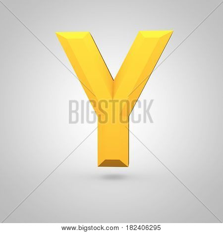 Yellow Low Poly Alphabet Letter Y Uppercase Isolated On White Background.