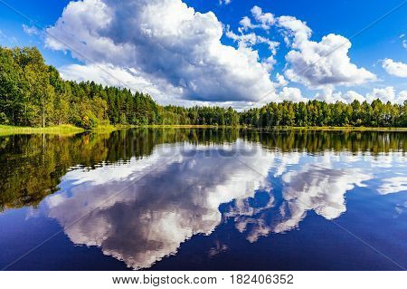 Finland Lake Landscape At Summer