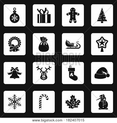 Christmas icons set in white squares on black background simple style vector illustration
