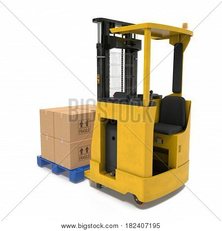 Loader with boxes on pallet isolated under the white background. 3D illustration