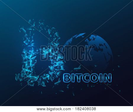 Bitcoin sign with glowing explosion effect. Cryptocurrency concept. Neon text. Vector illustration.