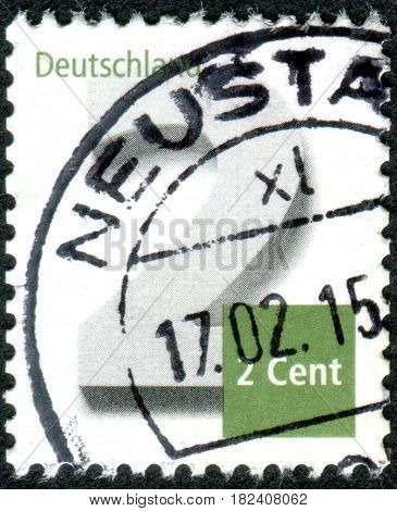 GERMANY - CIRCA 2013: A stamp (postage due) printed in Germany shows a value 2 Euro cent circa 2013