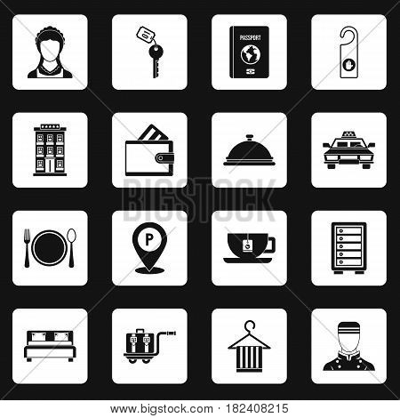 Hotel icons set in white squares on black background simple style vector illustration