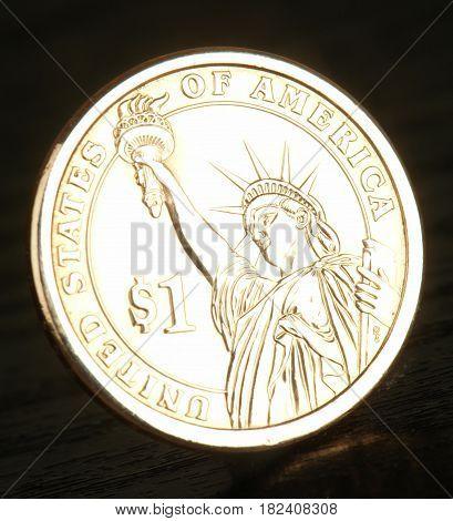 1 Dollar USA on a black background