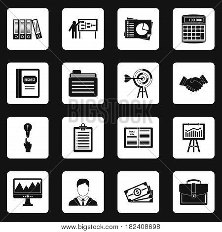 Business plan icons set in white squares on black background simple style vector illustration