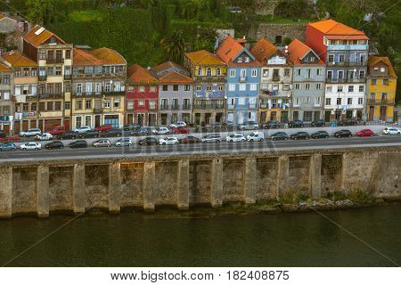 House on the embankment of Douro river, Porto, Portugal.