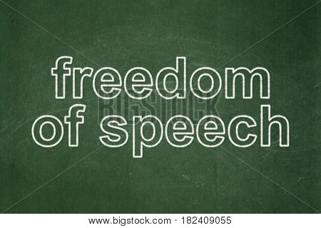 Political concept: text Freedom Of Speech on Green chalkboard background