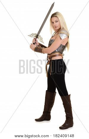 warrior woman using two handed sword on white