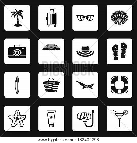 Summer rest icons set in white squares on black background simple style vector illustration