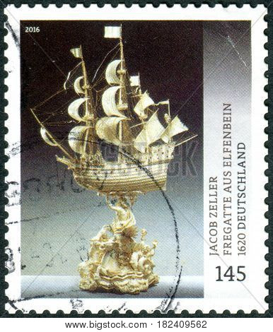 GERMANY - CIRCA 2016: A stamp printed in Germany shows a Ivory Frigate carving by Zeller circa 2016
