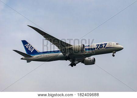 TOKYO, JAPAN - MAR. 5, 2017: Boeing 787-8 landing to the Haneda International Airport in Tokyo, Japan.