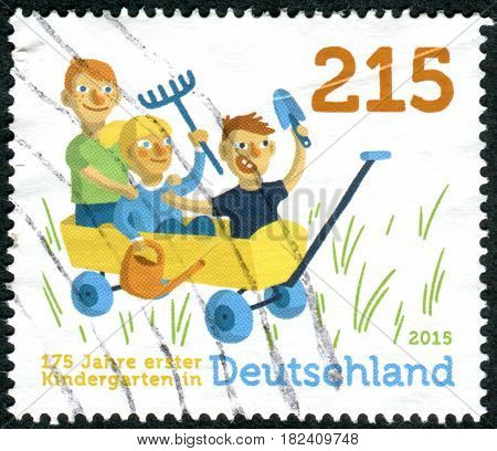 GERMANY - CIRCA 2015: A stamp printed in Germany dedicated to the 175th anniversary of the 1st Kindergarten in Germany circa 2015